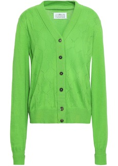 Maison Margiela Woman Pointelle-knit Cotton Cashmere And Silk-blend Cardigan Bright Green