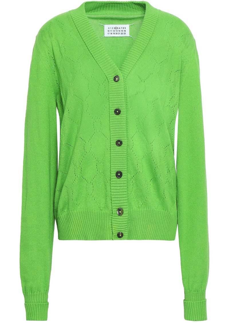 Maison Margiela Woman Pointelle-knit Cotton Cashmere And Silk-blend Cardigan Bright Green