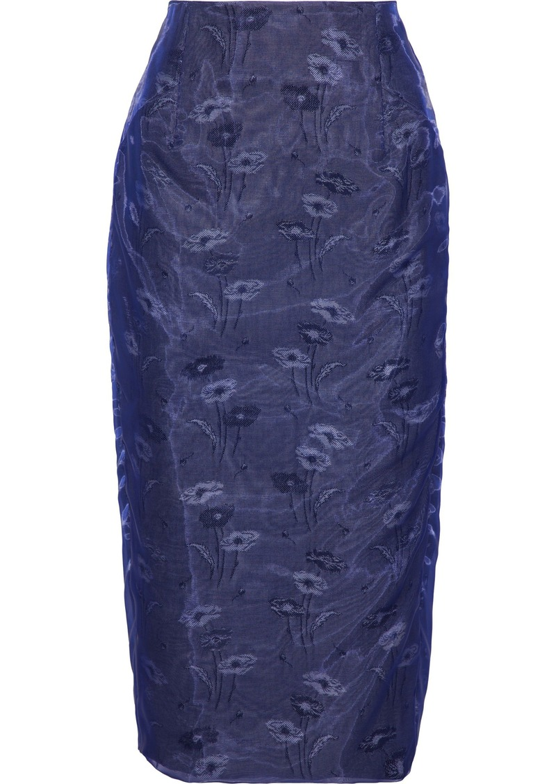 Maison Margiela Woman Printed Floral-jacquard Cotton-organza Midi Skirt Azure