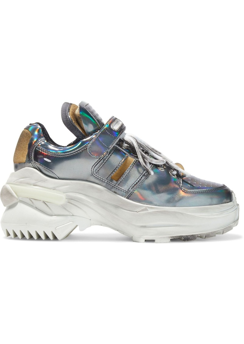 Maison Margiela Woman Retro Fit Deconstructed Holographic Faux Leather Sneakers Gunmetal