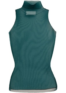 Maison Margiela Woman Ribbed Mesh Turtleneck Top Emerald