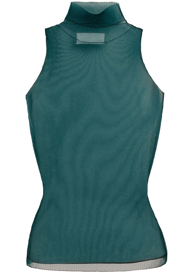 Maison Margiela Woman Ribbed Mesh Turtleneck Top Emerald
