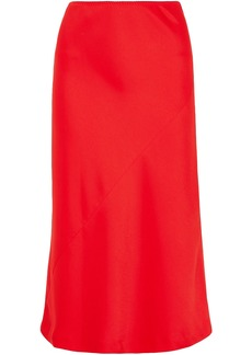 Maison Margiela Woman Satin-crepe Midi Skirt Tomato Red