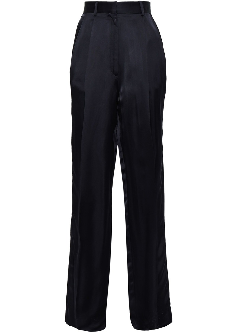 Maison Margiela Woman Satin Wide-leg Pants Midnight Blue