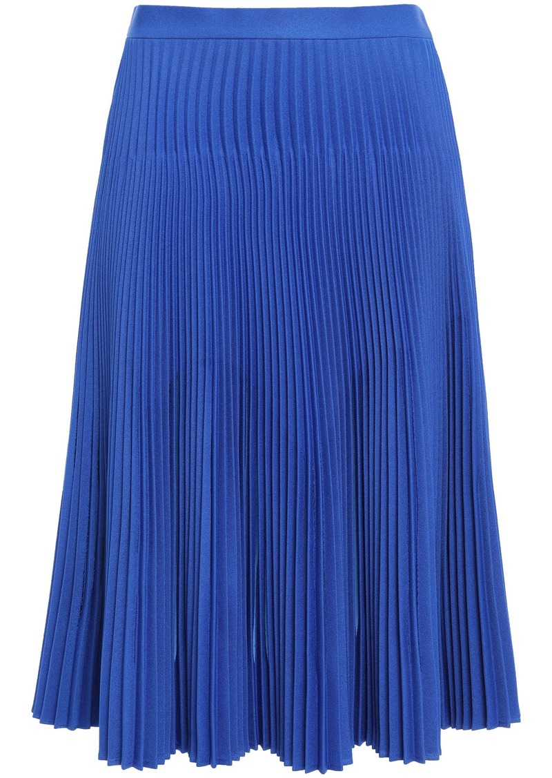 Maison Margiela Woman Sliced Pleated Twill Skirt Bright Blue