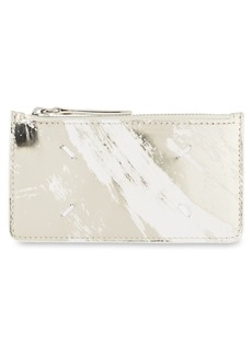 Maison Margiela Woman Smooth And Coated Mirroed-leather Cardholder Gold