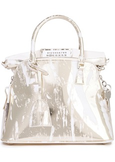 Maison Margiela Woman Smooth And Mirrored-leather Tote Gold