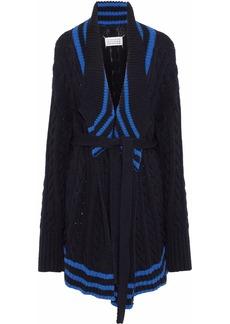 Maison Margiela Woman Striped Cable-knit Cotton And Linen-blend Cardigan Black