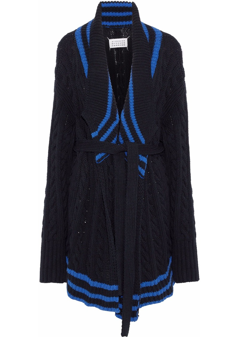 Maison Margiela Woman Striped Cable-knit Cotton And Linen-blend Cardigan Black