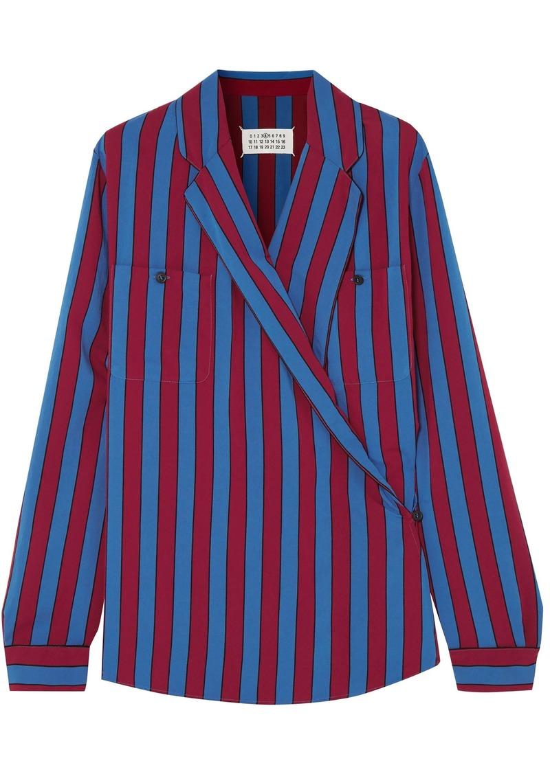 Maison Margiela Woman Striped Crepe Wrap Blouse Blue