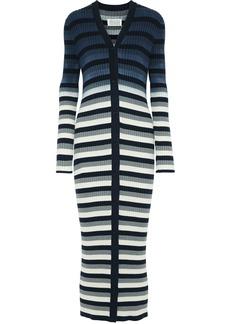Maison Margiela Woman Striped Ribbed Cotton Cardigan Blue