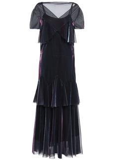 Maison Margiela Woman Tiered Holographic Mesh Midi Dress Black
