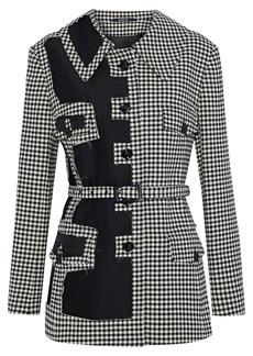 Maison Margiela Woman Twill-paneled Houndstooth Wool Jacket Black