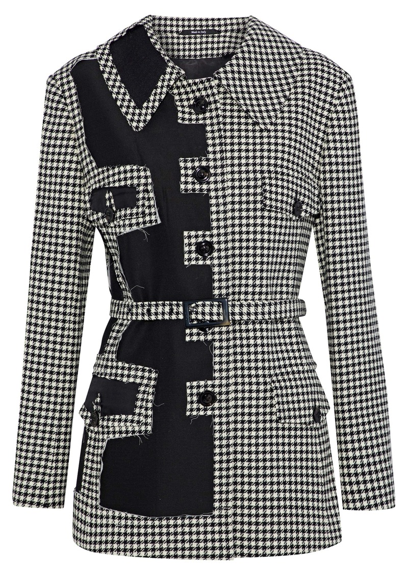 Maison Margiela Woman Twill-paneled Houndstooth Wool Jacket Black