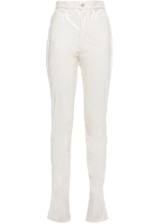 Maison Margiela Woman Vinyl Slim-leg Pants Cream
