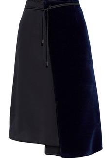 Maison Margiela Woman Wrap-effect Felt And Silk Crepe De Chine Skirt Black