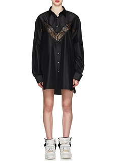 Maison Margiela Women's Lace-Inset Silk Shirtdress