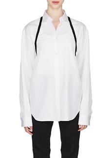 Maison Margiela Women's Ribbon-Trimmed Cotton Poplin Shirt