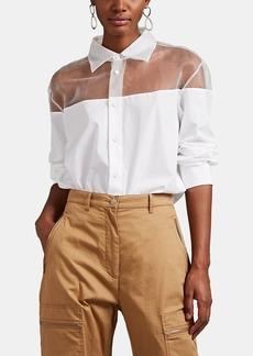 Maison Margiela Women's Sheer-Organza-Detailed Cotton Shirt