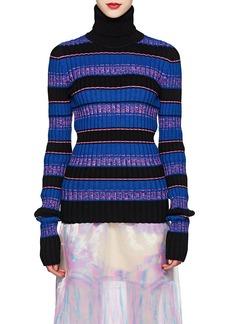 Maison Margiela Women's Striped Rib-Knit Wool-Blend Caged-Back Turtleneck Sweater