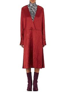 Maison Margiela Women's Wrinkled Wool-Blend Satin Wrap Dress
