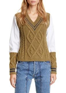 Maison Margiela Woven Sleeve Cotton Cable Sweater
