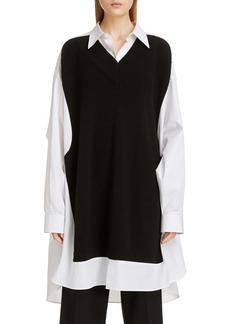 Maison Margiela Maison Rib Sweater Panel Poplin Tunic Shirt