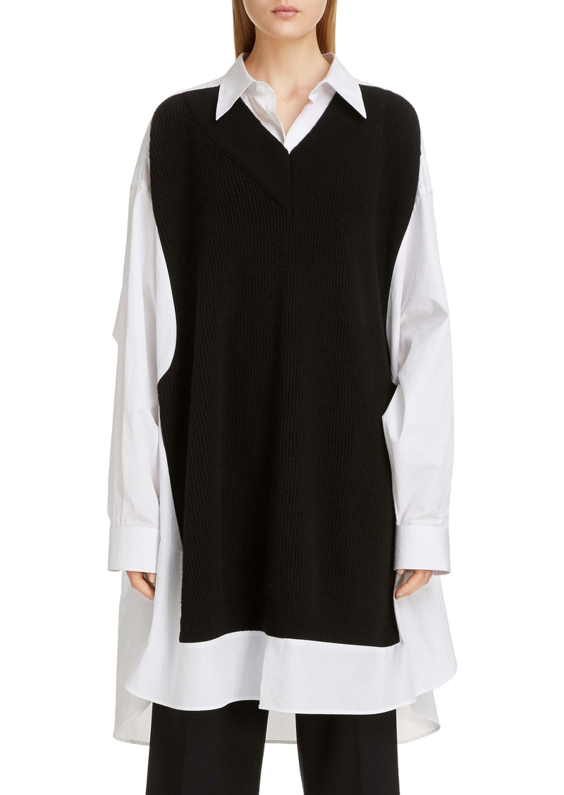 Maison Margiela Maison Rib Sweater Panel Poplin Tunic Shirt