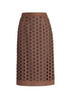Maison Margiela Melton Wool Hole Punched Skirt