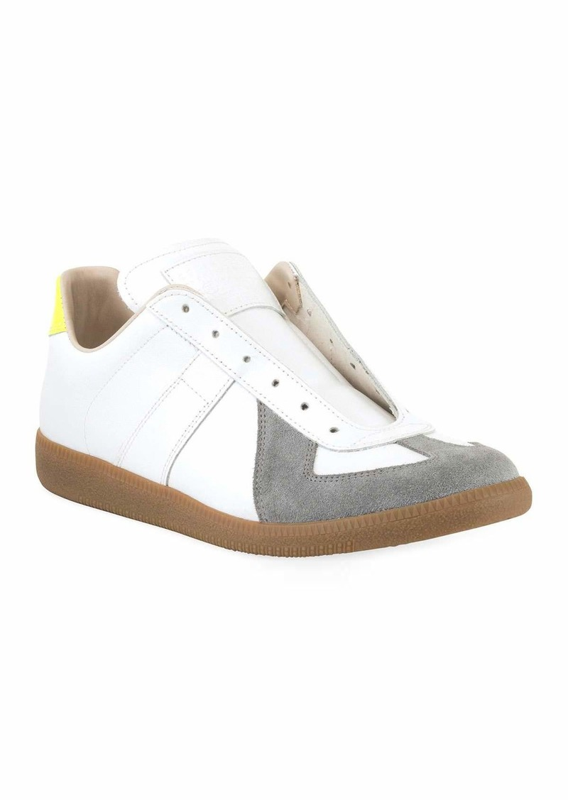 Maison Margiela Men's Replica Colorblock Leather/Suede Low-Top Sneakers