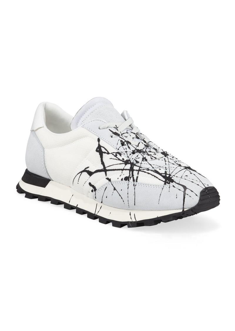 Maison Margiela Men's Replica Paint Lace-Up Runner Sneakers