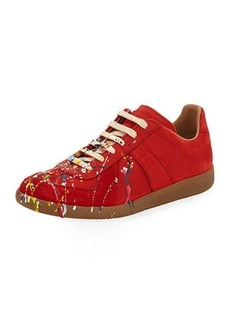 Maison Margiela Men's Replica Paint-Splatter Low-Top Sneakers
