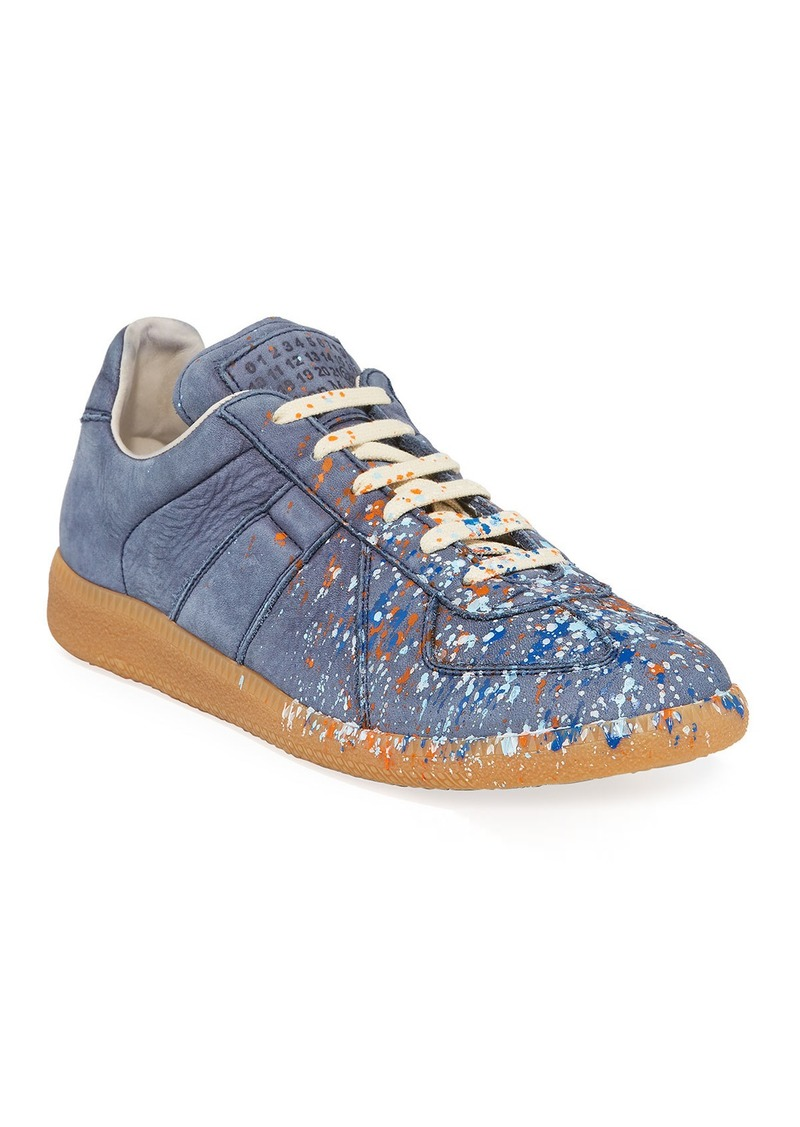 Maison Margiela Men's Replica Paint-Splatter Suede Low-Top Sneakers  Blue