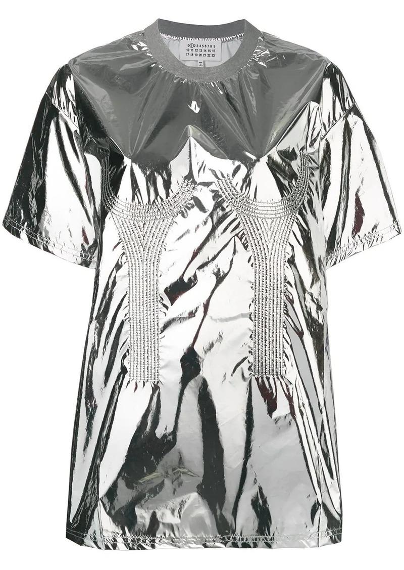 Maison Margiela metallic embroidered detailed top
