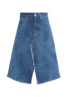 MM6 Maison Margiela A-line creased denim skirt