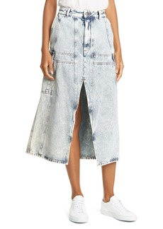 MM6 Maison Margiela Acid Wash Denim Midi Skirt