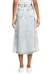 MM6 Maison Margiela Acid Wash Denim Midi Skirt