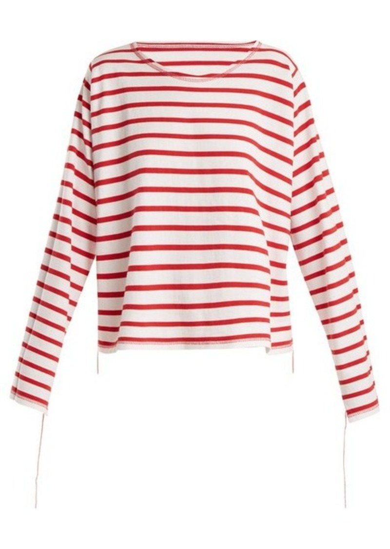 MM6 Maison Margiela Breton-stripe step-hem top