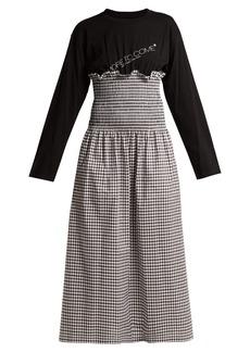 MM6 Maison Margiela Contrast-panel gingham cotton dress