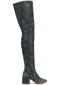 Maison Margiela cracked effect thigh high boots