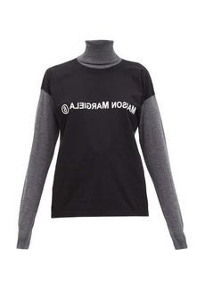 MM6 Maison Margiela Deconstructed logo-print wool roll-neck sweater