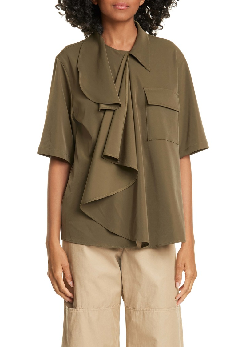 MM6 Maison Margiela Drape Front Stretch Twill Shirt