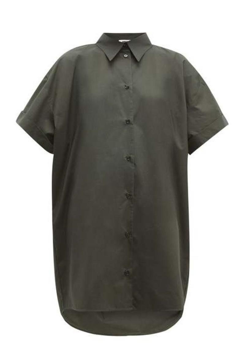 MM6 Maison Margiela Dropped-hem cotton-poplin shirt dress