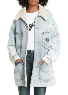 MM6 Maison Margiela Faux Shearling Lined Denim Jacket