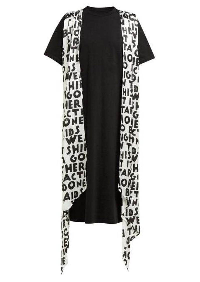 MM6 Maison Margiela Graffiti-print sash cotton T-shirt dress