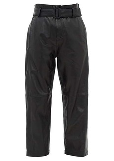MM6 Maison Margiela High-rise belted leather trousers