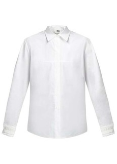 MM6 Maison Margiela Lace-embellished cuff cotton-poplin shirt
