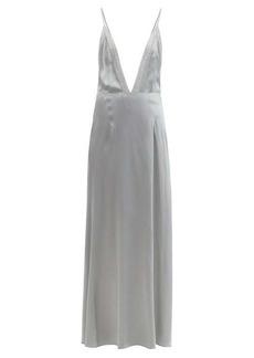 MM6 Maison Margiela Lace-trimmed V-neck satin slip dress