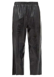 MM6 Maison Margiela Leather cropped wide-leg trousers