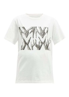 MM6 Maison Margiela Logo hand-print cotton T-shirt